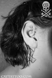cat tattoo body piercing ear helix root double helix