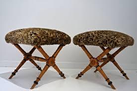 pair of vintage biedermeier style x stools with faux fur