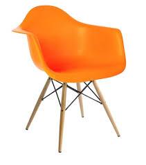 Orange Armchair Molded Plastic Armchair With Dowel Leg Base
