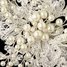 Swarovski Crystal Home Decor Ivory Lace Fabric W Pearl U0026 Swarovski Crystal Bead Floral Spray