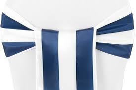 navy blue chair sashes stripe satin chair sash navy blue white cv linens