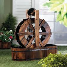 Wagon Wheel Home Decor Spinning Wood Outdoor Water Mill Fountain P U0026j Home And Garden