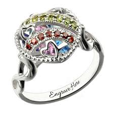 birthstone rings for mothers caged heart locket infinity ring sterling silver birthstone ring