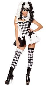 black white lattice circus clown costume funny women