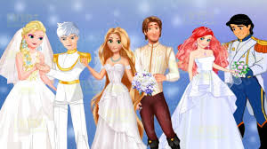 disney princesses elsa ariel and rapunzel wedding day dress up