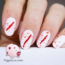 piggieluv bloody scratches nail art for halloween