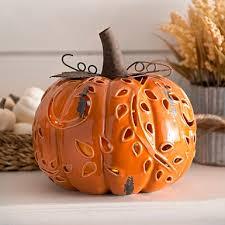 ceramic pumpkins pre lit orange ceramic pumpkin figurine fall pumpkins
