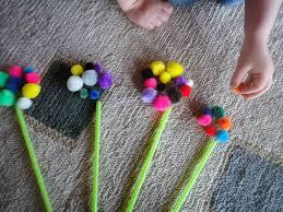 pompoms flower craft pompom craft homeschool preschool