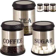 3pc stainless steel tea coffee sugar beans kitchen glass jar
