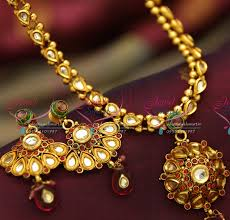 colour gold necklace images Nl4018 antique gold plated handmade multi colour kundan simple JPG