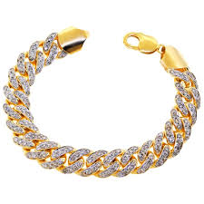 yellow gold cuban link bracelet images Two tone mens diamond miami cuban link 10k yellow gold 13 mm 8 75 jpg