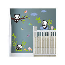 stickers bébés pandas avec bambous