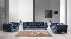Modern Blue Sofa Casa Modern Blue Fabric Sofa Set