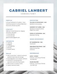 blue corporate photo simple modern resume templates by canva