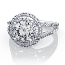 halo engagement ring settings 0 35ctw split shank halo engagement ring in 14k white gold