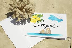 watercolor island map greeting cards