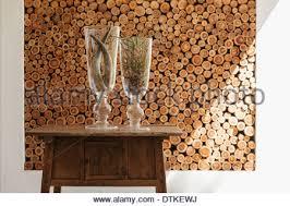 Log Vases A Large Modern Wooden Log House In Somerset Uk Stock Photo