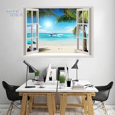 online get cheap tropical beach decor aliexpress com alibaba group 2016 hot huge 3d window wall sticker tropical beach sea gull palm ship decal mural wall