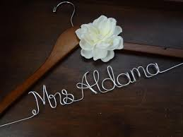 personalized wedding hangers personalized wedding dress hanger with ivory fabric flower on luulla