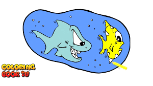 the shark chases fish coloring pages for kids youtube