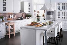 White Kitchen Island With Stools by Classy White Rectangle Shape Kitchen Island Featuring White Marble