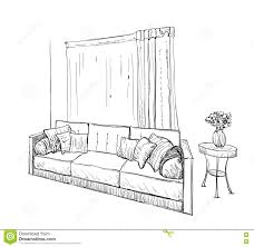 Couch Drawing Hand Drawn Sketch Of Sofa With Pillows Stock Vector Image 73947836