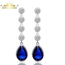 royal blue earrings vintage five tiered clear and royal blue teardrop