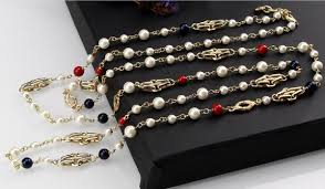 pearl necklace box images Online cheap chanel luxury multi color gemstones charms long pearl jpg