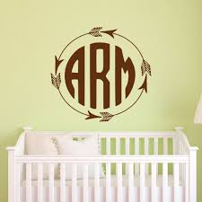 Wall Letter Decals For Nursery Rustic Monogram Wall Decal Arrow Monogram Decal Vinyl