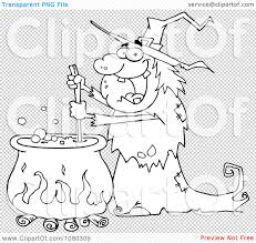 halloween coldren background clipart outlined warty halloween witch stirring a potion in a