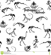 halloween background skeletons black skeletons of reptiles animals and birds on white background