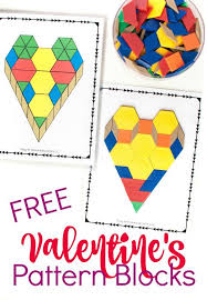 pattern blocks math activities one free printable five valentine s math activities for