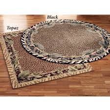 Black Round Rug Jungle Safari Animal Print Round Area Rug