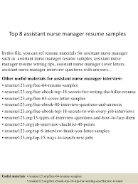 Sample Resume For Assistant Manager by Top 8 Assistant Nurse Manager Resume Samples 1 638 Jpg Cb U003d1431584773