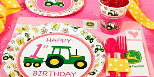 john deere pink 1st birthday party supplies kids party supplies