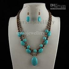 turquoise necklace sets images 2018 turquoise brown pearl pendant necklace earring fashion jpg