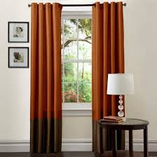 Orange And Brown Curtains Prima Brown Rust Window Curtains Pair 54 X 84 Walmart
