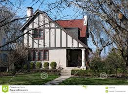 english tudor cottage cottage with slanted roof stock photo image 87386490
