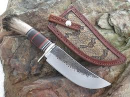 behring made scagel style camp knife w rattlesnake inlay