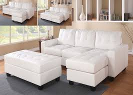 reversible sectional sofas white bonded leather match sectional sofa ottoman