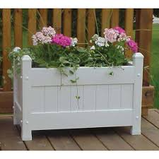 Large White Planter by Dura Trel 28 In X 16 In White Vinyl Planter Box 11124 The Home