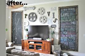 industrial style family room gallery wall with chalkboard art