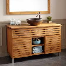 Teak Bathroom Storage Impressing 48 Caldwell Teak Vessel Sink Vanity Bathroom At