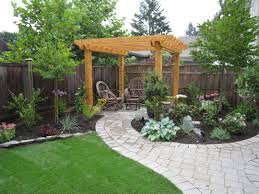 small backyard design with concrete tile pathway and green garden