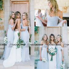 amsale bridesmaid amsale gorgeous draped sky blue shoulder boho