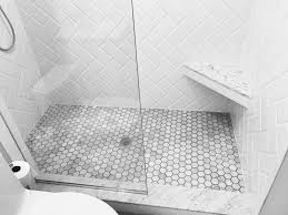 marble and white subway bathroom shower white beveled subway tile