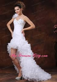 high low ruffle wedding dress ruched high low ruffled beading wedding dress with court