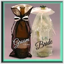 wedding wine and liquor bottle gift bag tuxedo or beaded dress