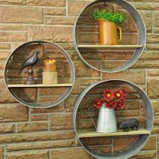 round metal walls shelves s 3 country farmhouse wire mesh and