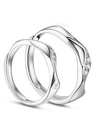 platinum sterling rings images Buy discount 925 sterling silver couple rings wave and heart with jpg